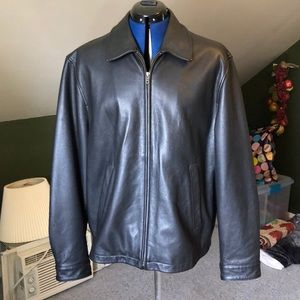 Brooks brothers black leather jacket EUC medium